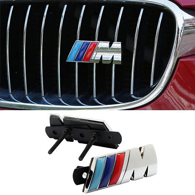 M Metal Chrome Grill Badge Front Emblem Grilles Stick For BMW