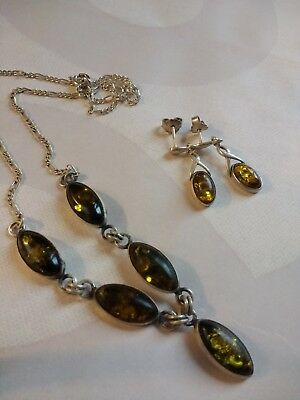 925 Sterling Silver 5 Green Baltic Amber Necklace and Earring Set