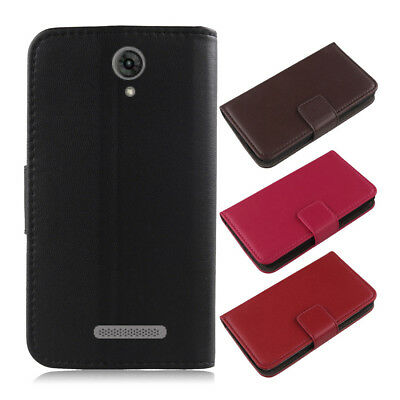For Blu Phone - Genuine Real Leather Case Cover Book Wallet Folder Flip Folio
