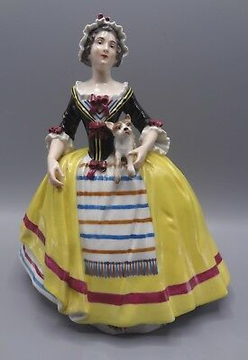 Beautiful 23 cm 19th Century French Porcelain Figure of Lady Holding a Dog