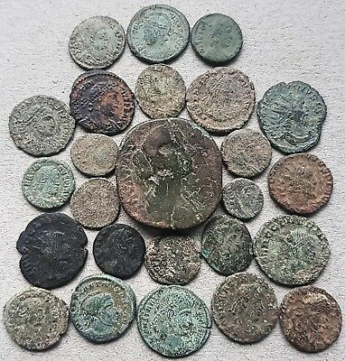 25 Interesting Roman Bronze Coins, for cleaning, research and attribution.
