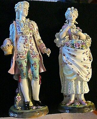 "1800's Dresden Antique Pair of Germany Porcelain Hand Painted Figures 22"" Tall"
