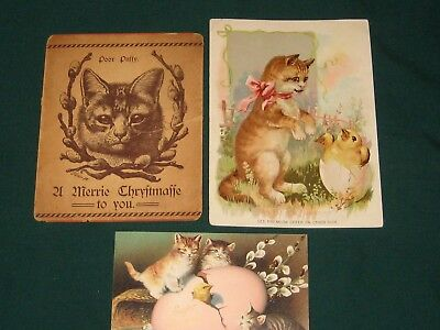 Lot of 3 Victorian Antique Cat Easter Post Card,  Advertising  &  Christmas