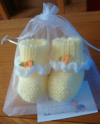Hand Made Knitted Newborn Baby Booties with organza bag and gift card
