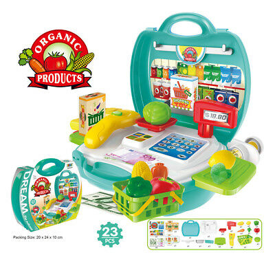 23PCS Kids Kitchen Cooking Pretend Role Play Toy Set With Light Sound Effect UK