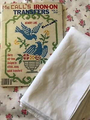 Vintage McCalls Iron-on Tranfer Book, Stamped/ Traced with piece of linen (1m)