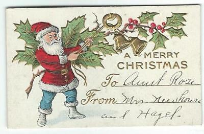 LOT of 5 CHRISTMAS gift TAGS SANTA CLAUS sweet group cat in stocking all vintage