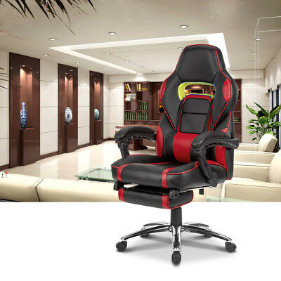 High Back Ergonomic Gaming Leather Chair Racing Style Reclining Computer Seat US