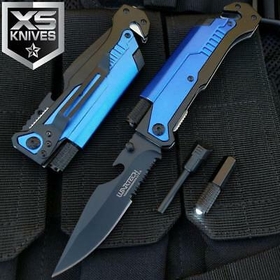 "8.75"" TACTICAL MULTI-FUNCTIONAL Blue Spring Assisted Pocket Knife Outdoor Rescue"
