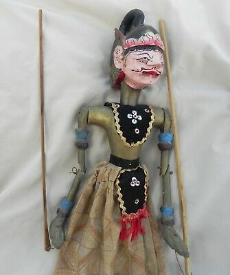 Vintage Stick Puppet Wayang Golek ? Hand Carved Painted Wood Rod Asian w Stand