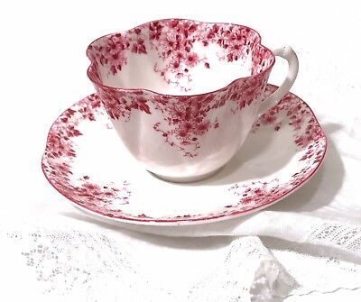 Shelley Dainty Pink Tea Cup And Saucer Hand Painted English Bone China Vintage