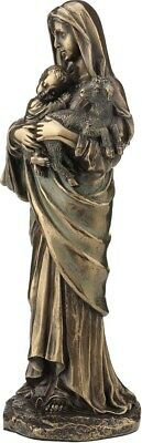 Madonna/ Virgin Mother/ Mary Lady with Jesus and lamb Bronze Statue 26cm/8.26in