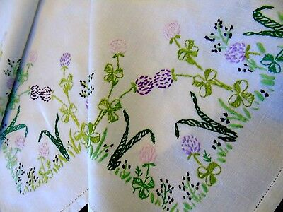 Pretty Meadow Flower,Vintage Hand Embroidered.Tablecloth.Clover Flowers&Foliage