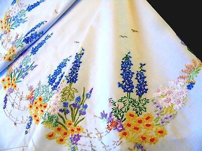 """Gorgeous,Vintage Hand Embroidered Tablecloth,""""Cottage Garden Flowers"""",32""""x32"""" GC"""