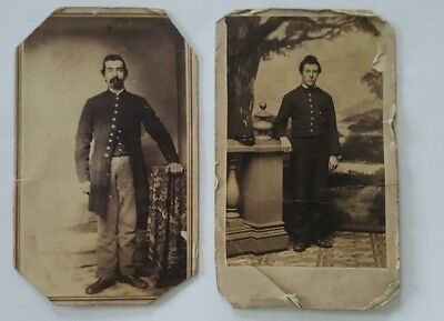 Antique CDV Photographs Of A Civil War Soldier Identified Company H 88 Regt.