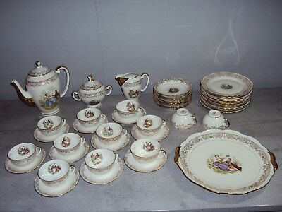 Service De Table En Porcelaine Decors Romantiques/france 78 Pieces