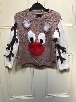 Girls Next Christmas Wooly Reindeer Jumper - Age 6 Years