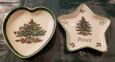 2 Spode Christmas Tree Heart Star Shaped Trinket Porcelain Dish Made in England