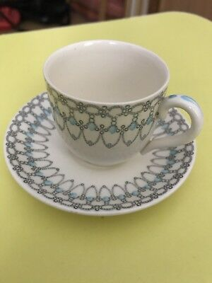 Myott Cup And Saucer Bonnie And Dundee Vintage Sky Blue Pattern