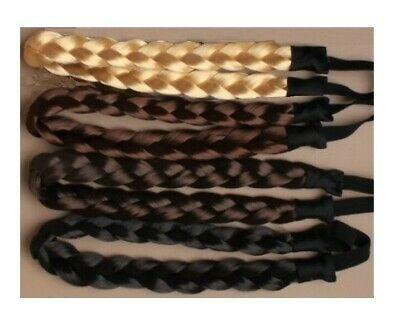 Ladies Braided Synthetic Hair Plaited Plait Elastic Headband Hairband Bandeau Uk