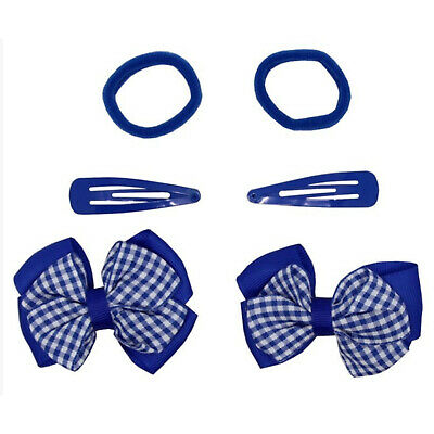 2x GINGHAM HAIR BOWS GIRLS HAIR BOBBLES TODDLER PONIO SCHOOL HAIR ELASTIC BANDS