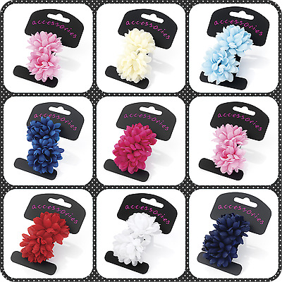2x SMALL FLOWER BOBBLES PONIOS HAIR ELASTICS HAIR BANDS BABY LITTLE GIRLS BANDS
