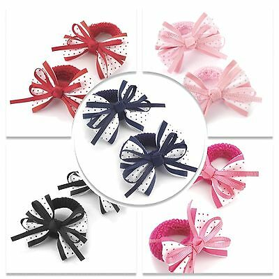2x GIRLS HAIR BOWS BOBBLES PONIOS BABIES SCHOOL GIRLS HAIR BOWS BANDS BABY BANDS