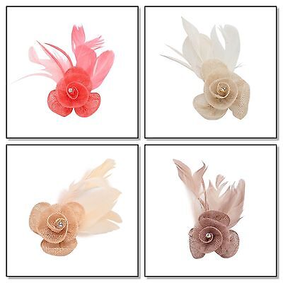 Flower Fascinator Clip Sinamay Feather Hair Clip Brooch Corsage Beak Clip Bridal