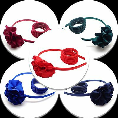 Girls School Headband Alice Band Hair Band School Satin Head Elastic Hairband Uk