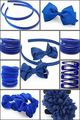 41x SCHOOL ROYAL BLUE HAIR ACCESSORY SET GIRLS SCHOOL BOBBLES HEADBAND CLIPS UK
