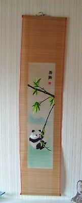 """Vintage Oriental Bamboo Scroll Painting Embroidered Silk Panda China 1980's 42"""""""