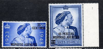 Morocco Agencies 1948 George Vi Silver Wedding Pair Spanish Curr - Mounted Mint