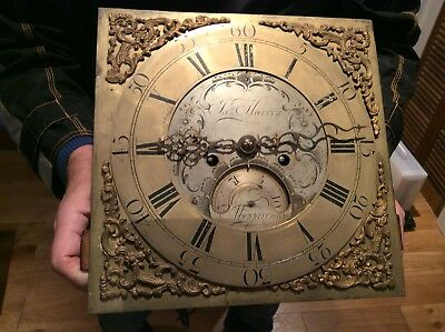 18th C. Brass Twin Train Longcase clock movement by James Harvey, Abergavenny
