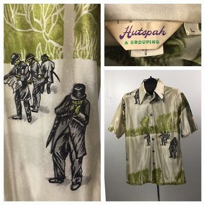 Vintage 1970s Green Novelty Old Time Print Button Down Shirt Short Sleeve M