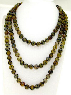 Superb 35 Inches Yellow Veins Dragon agate Necklace 8mm Round Beads Gemstone