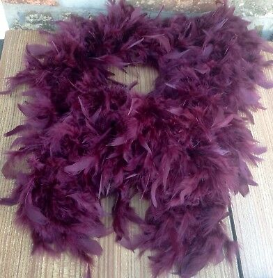 """Vintage Burgundy Red Feather Boa, Ostrich? 65"""" Long"""