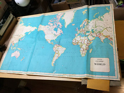 "HAMMOND -- CLASSIC MAP OF THE WORLD -- 33 x 49 1/2"" folded; undated; as shown"