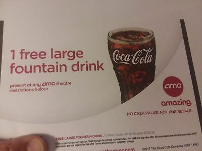 One Free Large Fountain Drink & One Free Popcorn  AMC Movie Theaters Expire 2020