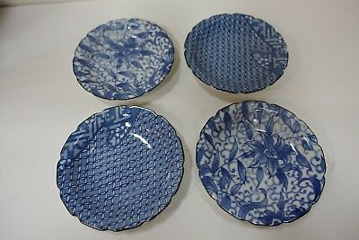 GGG407 lot of 4 BLUE AND WHITE JAPANESE PORCELAIN PLATES 4 1/2 inches