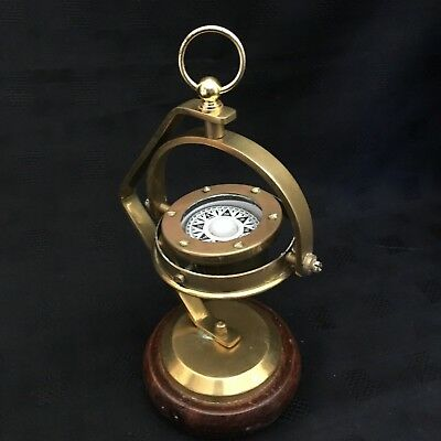 Nautical Hanging Brass Ships Gimbal Compass on a Wooden Stand