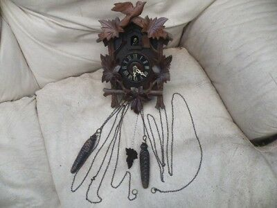 Traditional Small Wooden German style Cuckoo Clock - Pre-owned - Working