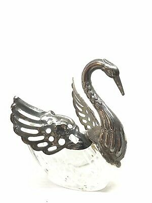 Crystal And Silver Plate Swan Salt Cellar With Movable Wings