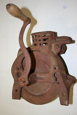 ANTIQUE CAST IRON Corn Sheller - Great Old Red Paint - Country Deco - Collectors