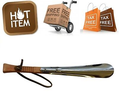 """Metal Shoe Horn w/ Wooden Handle & Leather Strap 11.5"""" Durable Sturdy Shoe Horn"""