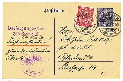 """Germany Reich Official Postal Card # Dp 5 """"offenbach (Main) Uprated Local Mail"""
