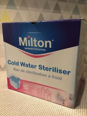 Milton Cold Water Steriliser - White. Sterilise bottles and pumps in 15 minutes