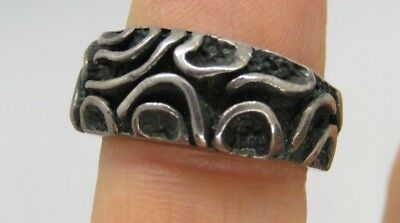 Vintage Mexico 925 Sterling Silver Handmade Modernist Ring Size 6.5  6 grams