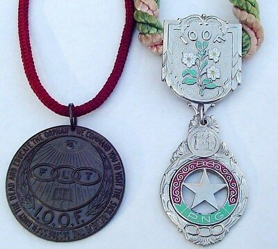 Vintage Lot of 2 IOOF ODD FELLOWS Medal MEDALLIONS FLT PNG Reg U.S. Pat. Office