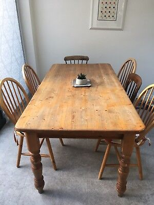 Antique kitchen farmhouse pine dining table with drawers