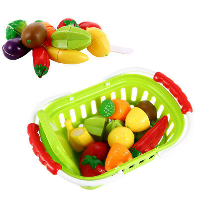 13Pcs Plastic Cutting Fruits and Vegetables Kids Pretend Play Toys w/Basket Gift